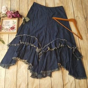 Cowgirl Fringe Tiered Denim Jean Skirt Long Modest